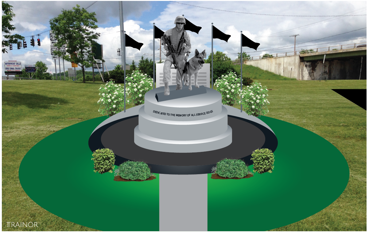 Mockup of the proposed War Dog statue.